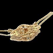 Lovely Retro Vintage Diamond Pendant in 10 & 14 Karat Two Tone Rose & Yellow Gold