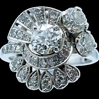 Beautiful Spiraling Vintage 3 Carat Diamond Cluster in 14 Karat White Gold
