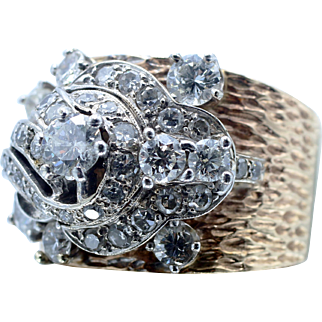 Mid-Century & Belle Epoque Coalesce In This Diamond Cluster Cocktail Ring in 14 Karat White & Yellow Gold