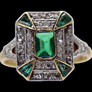 Charming Art Deco Diamond & Green Glass in 18 Karat Yellow Gold & Platinum