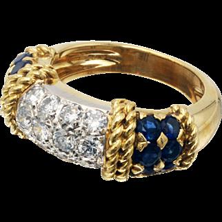 Vintage Fred Of Paris Diamond & Sapphire Ring in 18 Karat White & Yellow Gold