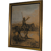 Jose Arpa y Perea - Don Quixote & Sancho Panza - Charcoal & Watercolor