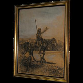 Jose Arpa y Perea - Don Quixote & Sancho Panza - Charcoal & Watercolor