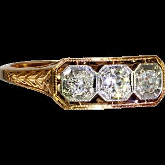 Victorian Antique Three Diamond Ring in Platinum & 14 Karat Rose Gold