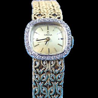 Ladies Vintage Omega Diamond Luxury Watch In 18 Karat Gold