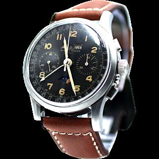 Vintage Baume & Mercier Triple Calendar Moon Phase Chronograph with Landeron 186 Movement
