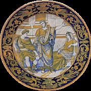Early 20th century Italian Majolica Gualdo Tadino Gold Luster Charger
