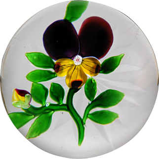 Antique Baccarat Type III pansy and bud paperweight.