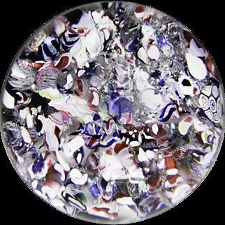 Antique New England Glass Company scrambled millefiori paperweight.
