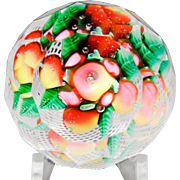 Antique New England Glass Company fruit bouquet in latticinio basket paperweight. - Red Tag Sale Item