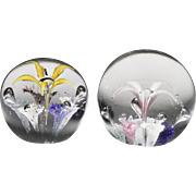 Pair of magnum American antique glass paperweights with umbrella flowers.