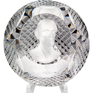 Baccarat 1953 faceted bust of Abraham Lincoln sulphide paperweight.