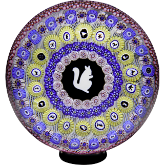 Baccarat 1972 Gridel squirrel and concentric millefiori paperweight.