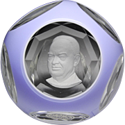 Baccarat sulphide faceted paperweight of Herbert Hoover.