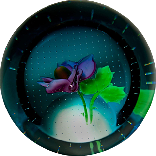 Caithness Glass June:Rose glass paperweight.