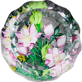 """Caithness Glass """"Pink Columbine"""" floral bouquet magnum faceted glass paperweight."""