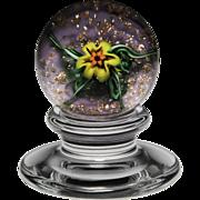 Charles Kaziun miniature spider lily pedestal paperweight.
