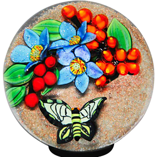 """Colin Richardson """"Golden Tropics"""" butterfly and bouquet paperweight."""