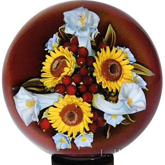 David Graeber sunflower and morning glory bouquet paperweight