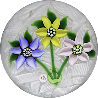 """J"" Glass 1979 three-flower bouquet paperweight"