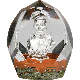 Antique Bohemian faceted high-domed sulphide glass paperweight.