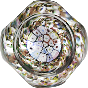 Murano faceted close concentric millefiori glass paperweight