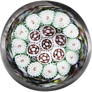 Murano miniature close concentric millefiori glass paperweight