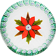 Peter McDougall Christmas poinsettia glass paperweight, L.H. Selman Ltd. special edition