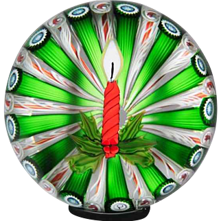 Perthshire Paperweights 1986 Christmas candle glass art paperweight.