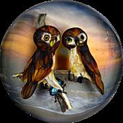 "Rick Ayotte ""Wonders of the Night"" owl pair magnum paperweight."