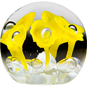 St. Clair 1971 yellow flower paperweight, by Maude & Bob St. Clair.