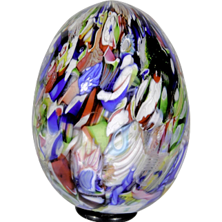 Antique Saint Louis end-of-day millefiori hand cooler glass paperweight