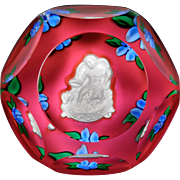 "Saint Louis 1979 ""Amour"" faceted Cupid sulphide paperweight."