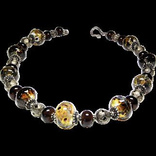 Ann Wasserman Ocelot glass bead and silver choker necklace.