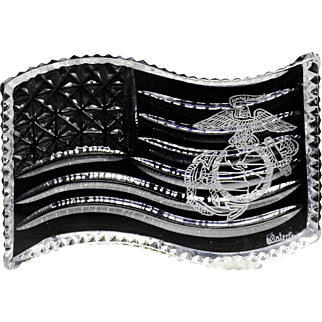 Waterford crystal commemorative United States Marine Corps. flat plaque glass paperweight.