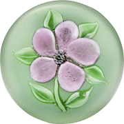 Ronald Hansen dusty pink clematis glass paperweight.