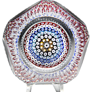 Whitefriars 1972 close concentric millefiori faceted paperweight.