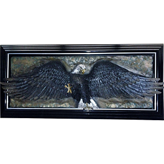 "Bill Mack, Bronze Relief Wall SCULPTURE Eagle ""Glory""  Signed Large Deluxe Art"