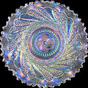 "ROUNDUP - Dugan White Carnival Glass 9"" Low Ruffled Bowl / Plate"