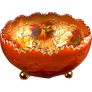 STAG & HOLLY - Fenton Marigold Carnival Glass Giant Rose Bowl