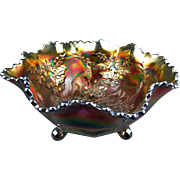 STAG & HOLLY - Fenton Amethyst Carnival Glass Ruffled Footed Fruit Bowl
