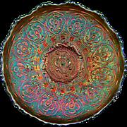 "PERSIAN MEDALLION - Fenton Green Carnival Glass 6½"" Ice Cream Shape Bowl"