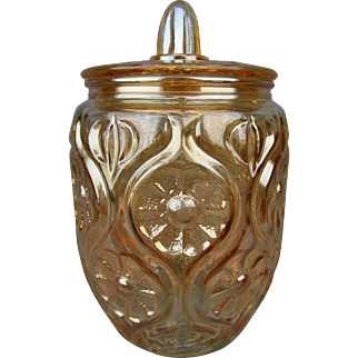 ILLINOIS DAISY - Davidsons English Marigold Carnival Glass Biscuit Jar