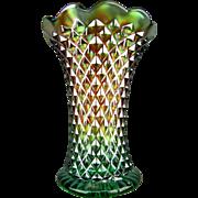 "DIAMOND POINT - Northwood Green Carnival Glass 6½"" Squatty Vase"