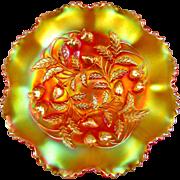 STRAWBERRY - Northwood Marigold Carnival Glass Ruffled Bowl