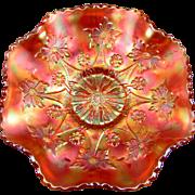 LITTLE FLOWERS - Fenton Pumpkin Marigold Carnival Glass Ruffled Bowl
