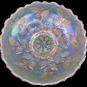 "HOLLY - Fenton White Carnival Glass 8½"" Ice Cream Shape Bowl"