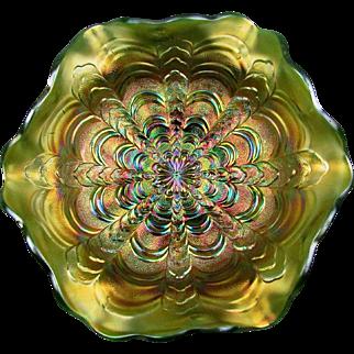 ROSALIND - Millersburg Green Carnival Glass Ruffled Bowl