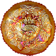 "PEACOCK & URN - Fenton Marigold Carnival Glass Ice Cream Shape 8"" Bowl"