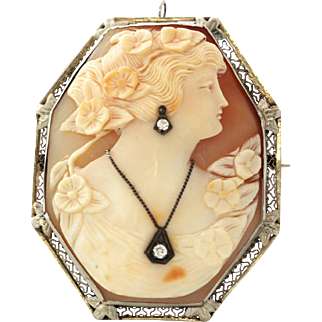 Large Antique Cameo Brooch Habille with Diamonds